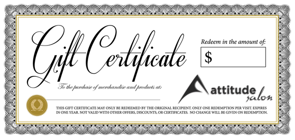 gift certificates attitude salon